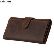 TAILUTE Brand Solid Men Wallets Fashion Male Clutch Wallet Genuine Leather Men Long Purses Card Holder