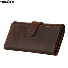 TAILUTE Brand Solid Men Wallets Fashion Male Clutch Wallet Genuine Leather Men Long Purses Card Holder Purses Men Coin Purse