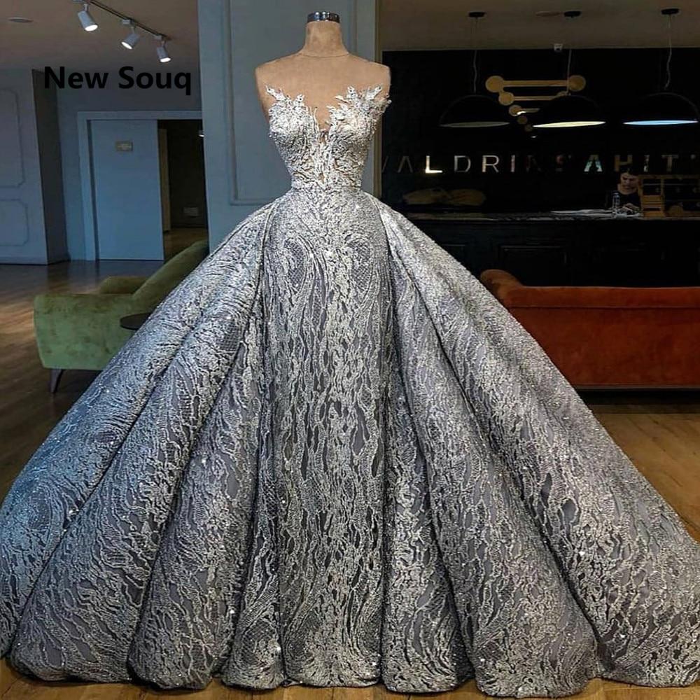 Gorgeous Lace Arabic   Evening     Dresses   With Detachable Skirt Illusion Neckline Middle East   Evening   Gowns Robe De Soiree