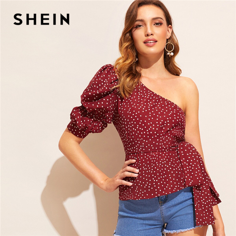 SHEIN Burgundy Polka Dot Print One Shoulder Sexy Blouse Women 2019 Puff Sleeve Belted Summer Blouse Slim Fitted Ladies Tops