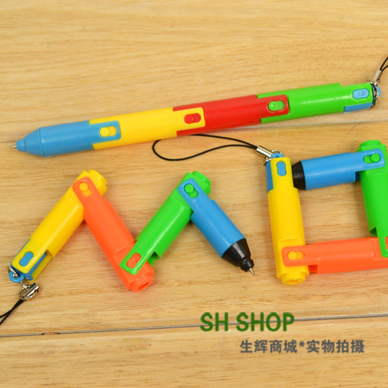 QSHOIC 50 PCS/lot Folding ballpoint pen for mobile phone pendant pen bending pen student supplies prize gift pen