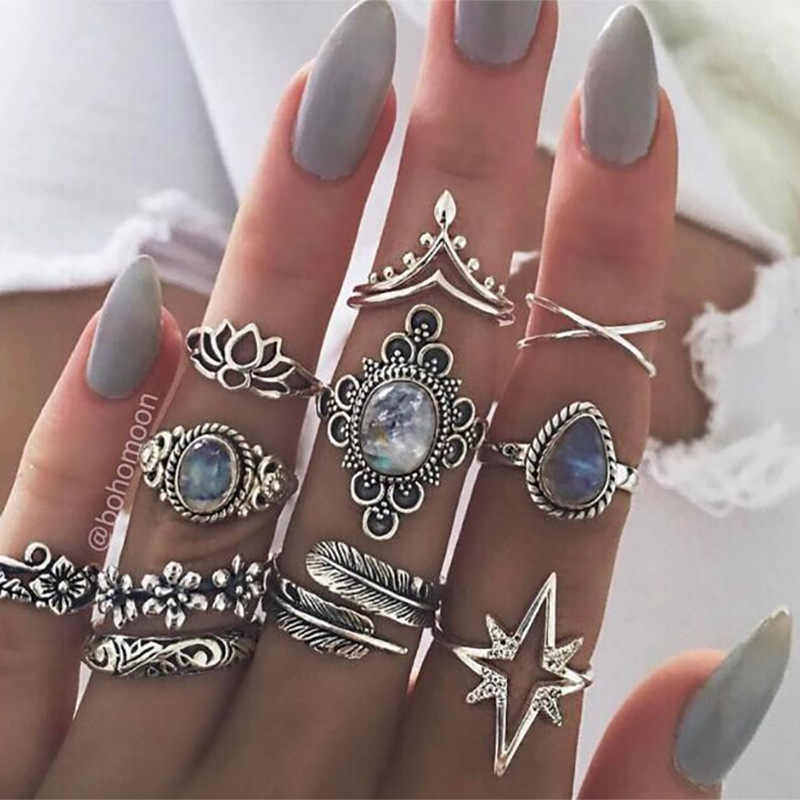 11 teile/satz Ringe Set Antike Silber Farbe Feather Crown Stern Kristall Hohl Lotus Blume Kreuz Charme Midi Knuckle Finger Ring