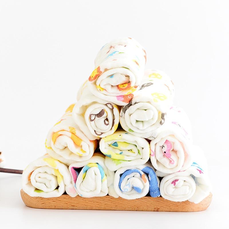 5pcs/lot 30*30cm 100% gauze cotton baby handkerchief square cartoon pattern towel muslin cotton infant face towel wipe cloth