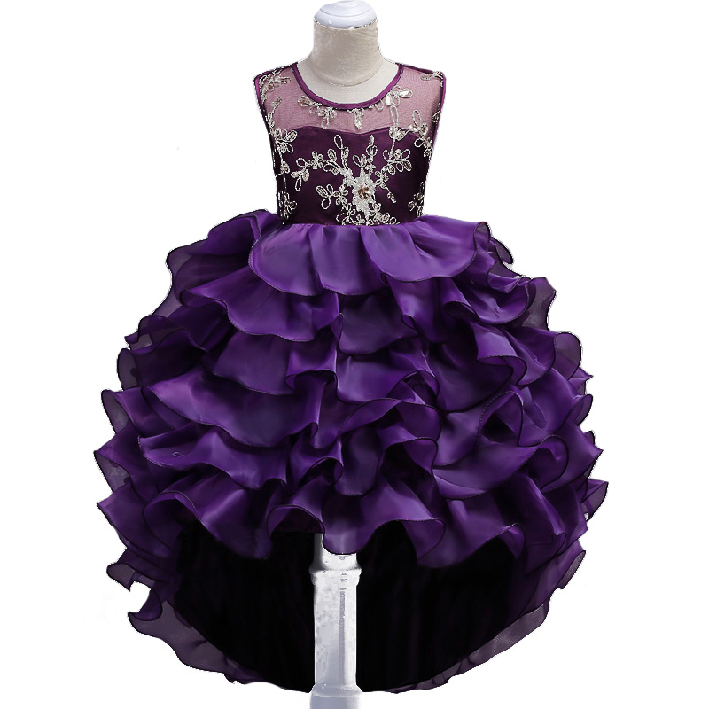 все цены на Long Tail Girls Dress Kids Embroidery Tutu Cake Dress for Party Wedding Young Girls Princess Dress for Performance Prom Clothes