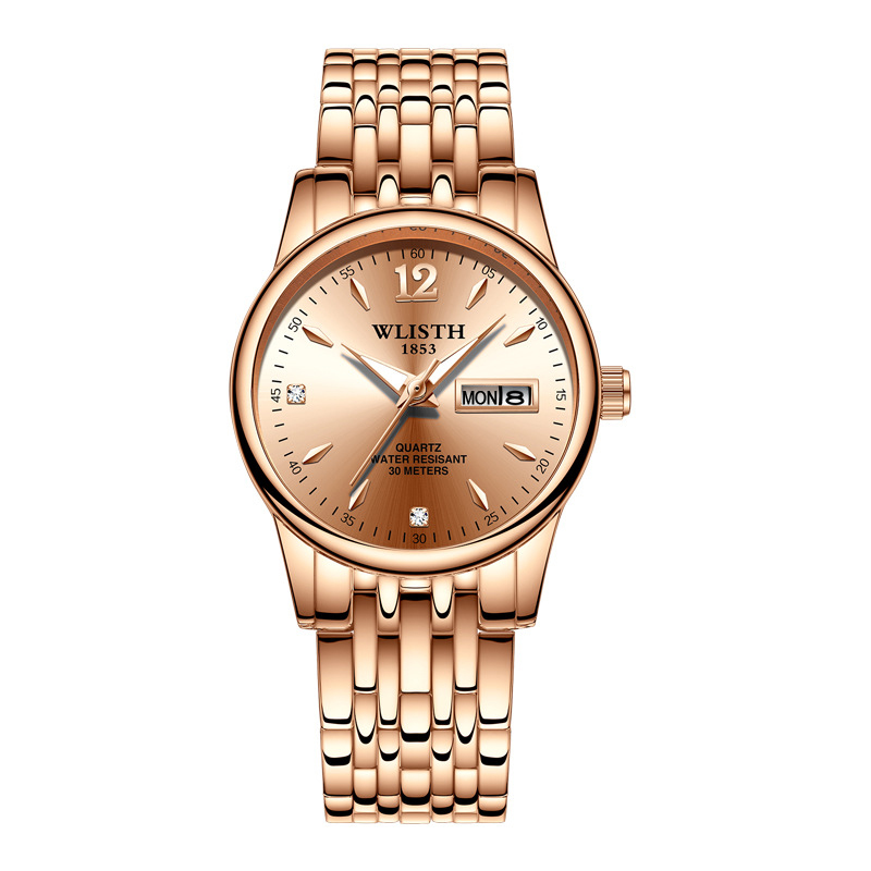 Designer Brand Luxury Women Dress Watch Gold Stainless Steel Fashion Ladies Wristwatch Week Date Quartz Clock Female Watches