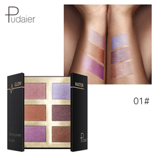 Pudaier 6 Color High Light Disks Pressed Glow Repair Glittering Powder Palette Long Lasting High Gloss And Blush Glow Kit недорого