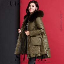 Ptslan 2016 Women's Genuine Leather Jacket Zipper Closure Real Lambskin Down Coat