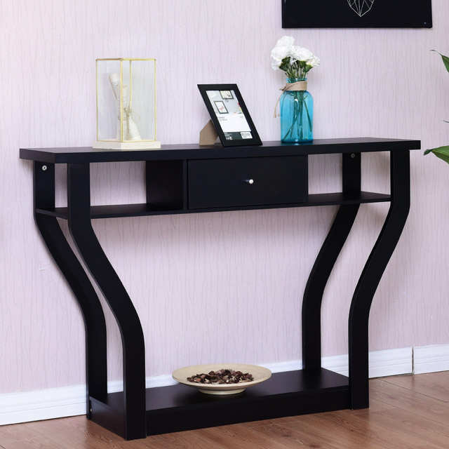 Placeholder Giantex Accent Console Table Modern Sofa Entryway Hallway Wood Display Desk With Drawer Living Room Furniture