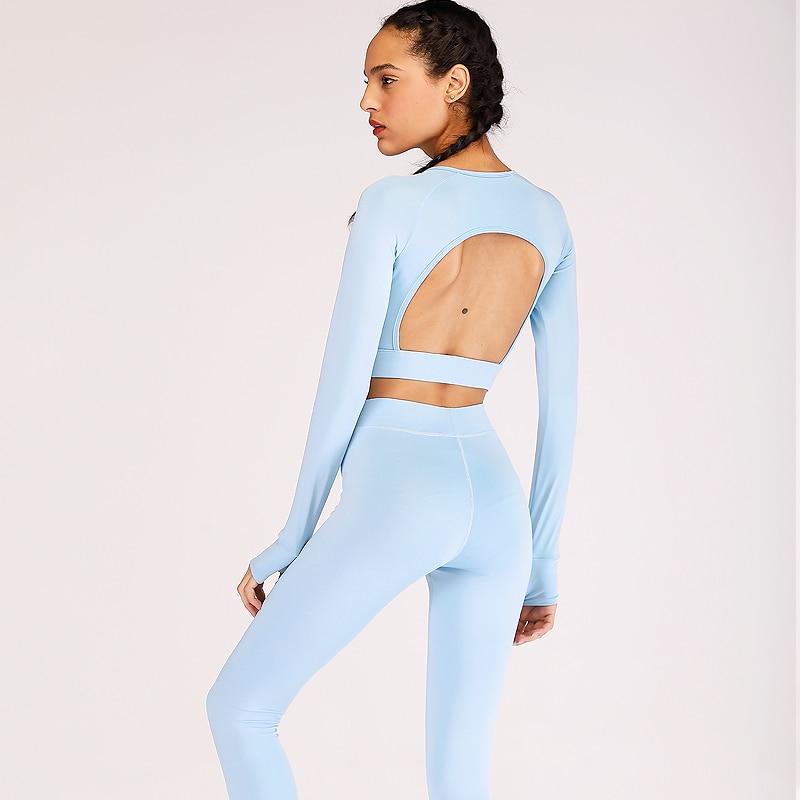 ESHINES femmes Yoga Top + pantalons de Sport costume de Sport ensemble de Yoga course Fitness vêtements d'entraînement pour les femmes vêtements de Sport pour les femmes