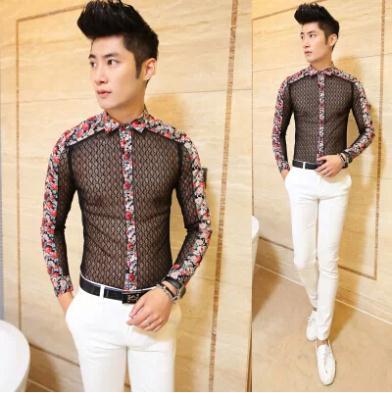 Polo New 2014 Mens Clothing See Through Sexy Male Dress Shirts Slim