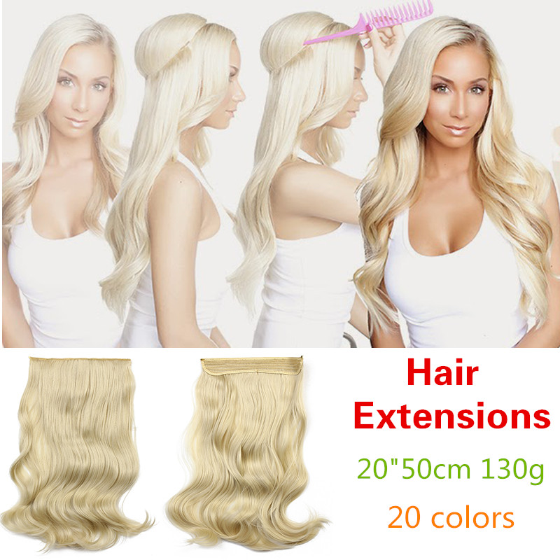 10pcs Wavy Hairpiece Synthetic Hair Halo Hair Extension Secret
