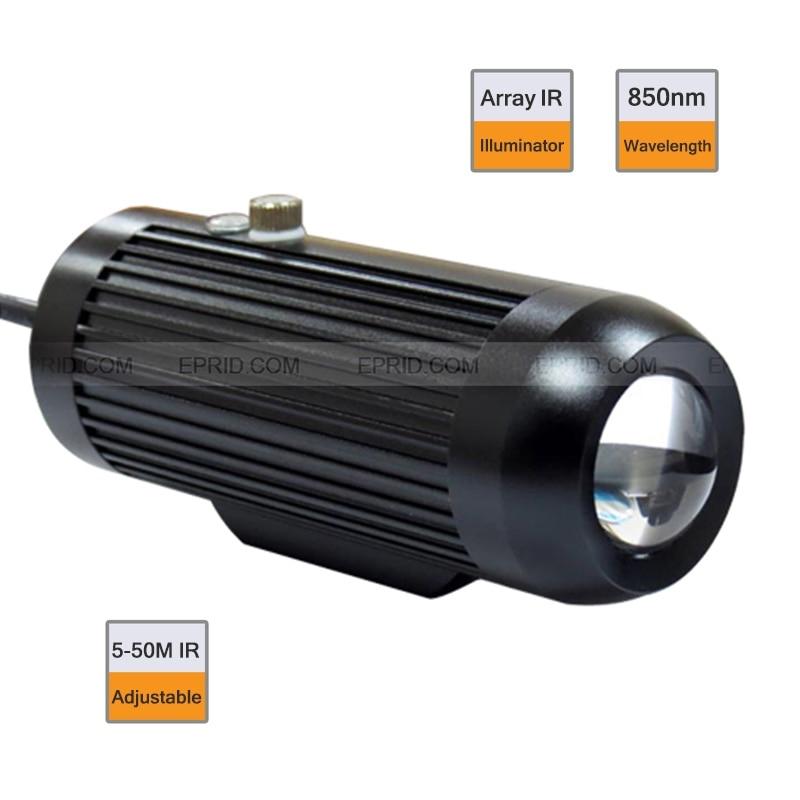 CCTV 5-90Degree Mise Au Point Réglable 3000 mW Surveillance IR Illuminateur LED Array 850nm 5-50 M
