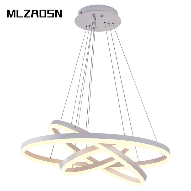 Doeltreffend Mlzaosn Led Creatieve Ronde Combinatie Hanglamp Ring Korte Cirkel Lampen Woonkamer Hanglamp Moderne Living Light