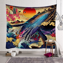 Japanese Tapestry Whale Deer Snake Goldfish Style Wall Hangings Sea Wave Tapestries Hanging Room Decor