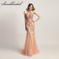 Gorgenous Peach Evening Dresses Formal Long Mermaid Tulle with Beading Crystals Backless Gray Robe de Soiree Prom Gowns CC437