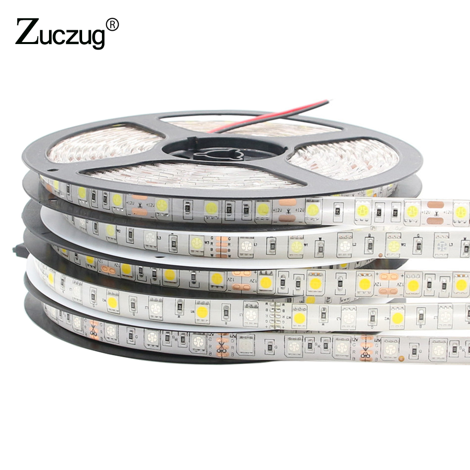 LED Strip 5050 DC12V 60LEDs/m 5m/lot Flexible LED Light RGB 5050 LED lamp White/Blue/Warm White Decoration lamp usb powered flexible neck 10 led white light lamp blue 27cm