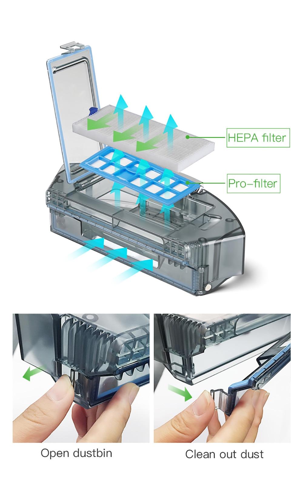 Dibea D960 Robot aspirateur intelligent avec aspirateur Robot de nettoyage humide avec technologie de nettoyage des bords pour les tapis minces de poils d'animaux - 4
