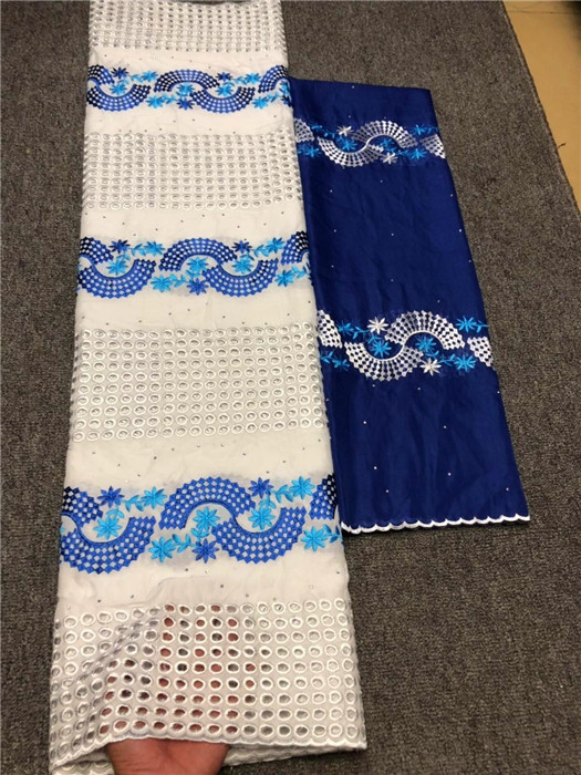 Hot sale party set embroidery African cotton lace fabric matching 2yards Swiss voile scarf material NCV1(5+2y)Hot sale party set embroidery African cotton lace fabric matching 2yards Swiss voile scarf material NCV1(5+2y)