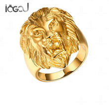 IOGOU Classic Stainless Steel Yellow Gold Color Men Rings Lion King Face Head Charm Punk Hip Hop Male Rings Party Jewelry Gifts