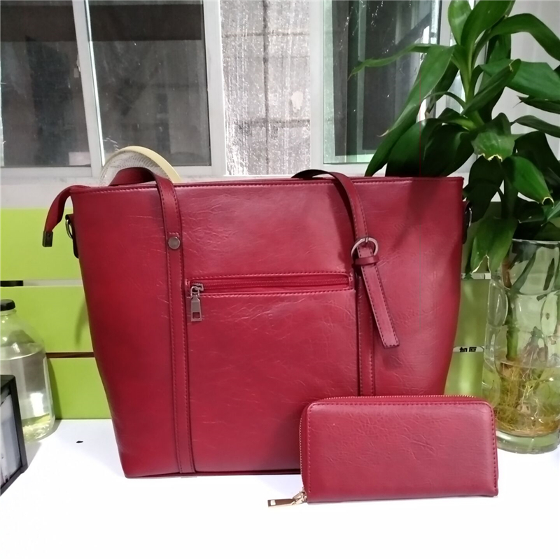 Women Shoulder Two-piece Leather Handbag  1