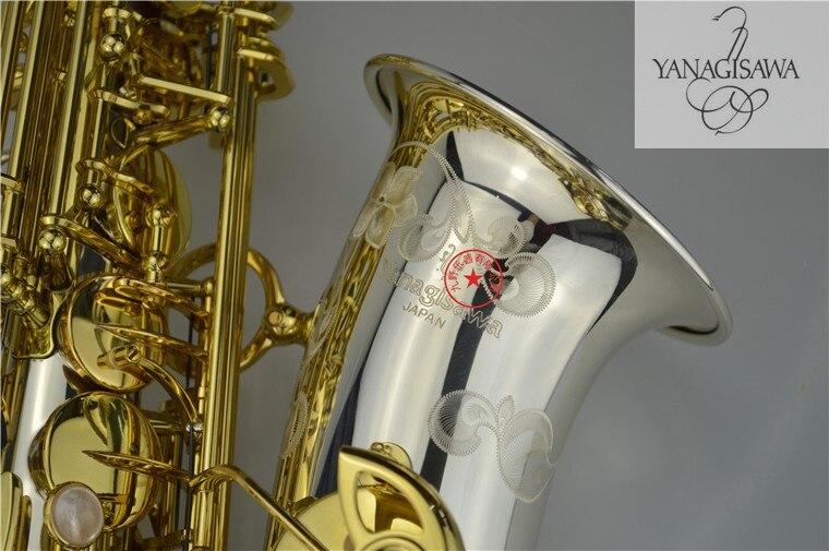 2018 New Yanagisawa A-WO37 Saxophone alto Nickel plated Gold Key Professional Yanagisawa super play Sax mouthpiece with Carrying yanagisawa a 992 brand musical instruments alto saxophone eb tone phosphor bronze gold plated e flat sax with case mouthpiece