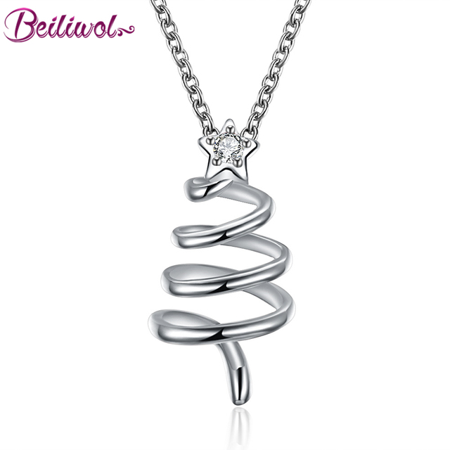 Beiliwol trendy necklaces pendants women christmas tree rose gold beiliwol trendy necklaces pendants women christmas tree rose gold color silver color star zircon aloadofball Image collections
