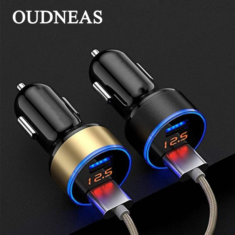 OUDNEAS 2 USB Car Charger Digital LED Display 5V 3A Aluminium Alloy Fast Charging Voltage Monitoring For iPhone for Samsung