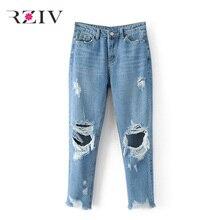 RZIV 2017 джинсы женские повседневная твердые colorhigh талии ноги штаны отверстие джинсы