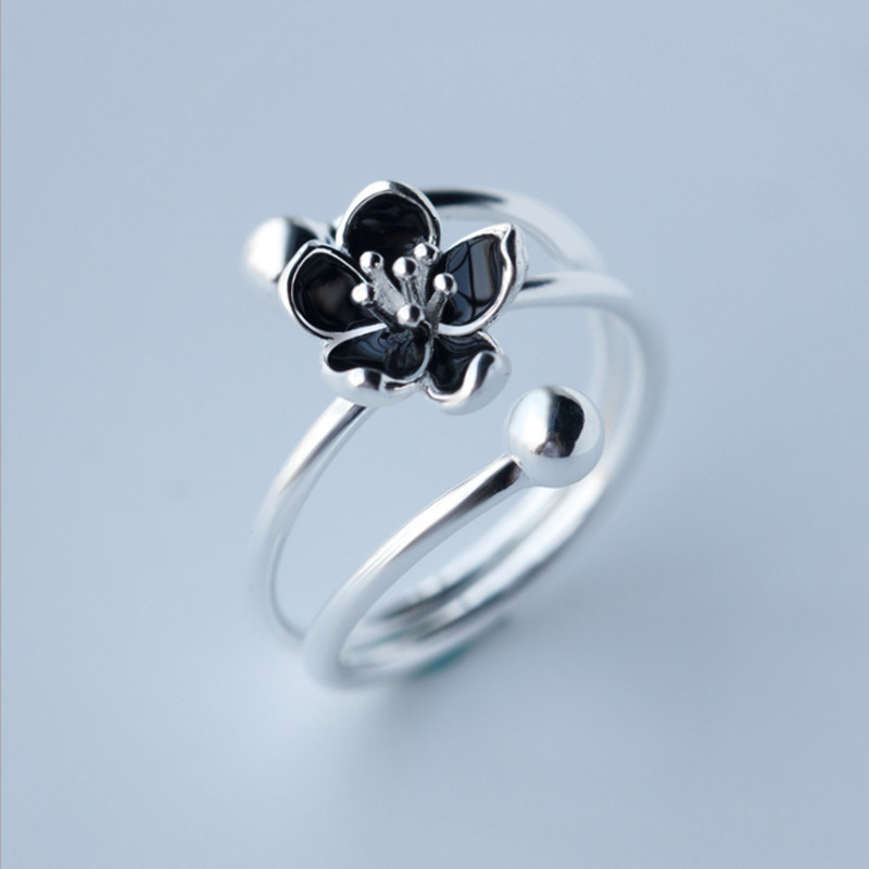 Vintage Mystic Floral 925 sterling silver Black Bud Flower Rings for Women Multi Layer Stacked Sterling