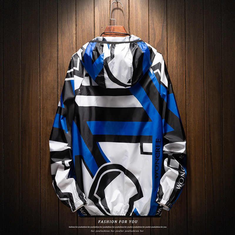 新 2019 カジュアルメンズジャケット防水春フード付きコート男性の上着カジュアルジャケットブランド男性服プラスサイズ 4XL