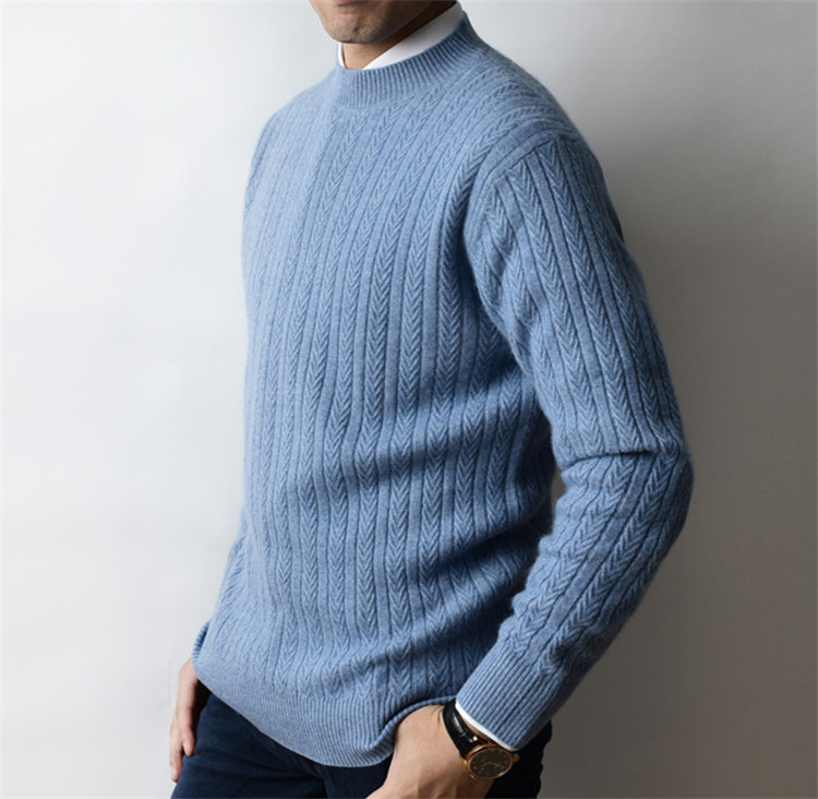 100%cashmere Twisted Knit Men Fashion Half High Collar H-straight Pullover Sweater 4color S-2XL Retail Wholesale