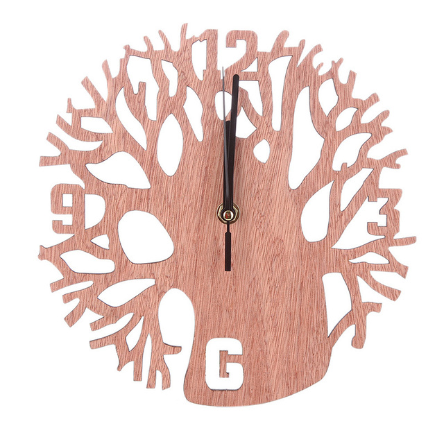 Home Decor Round Wall Clock Wood Life Tree Retro Clocks Home ...