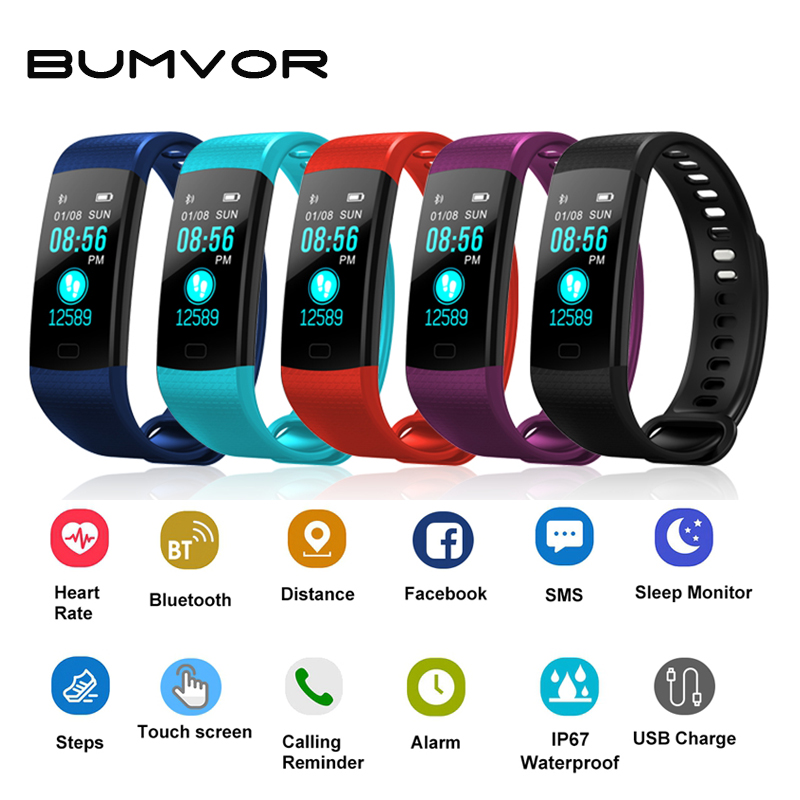 BUMVOR Y5 Color Screen Wristband Watch Smart Electronics Bracelet Waterproof Heart Rate Activity Fitness VS for Xiaomi Miband 2 goral y5 smart bracelet 0 96 inch tft color screen