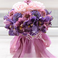 Beautiful Purple Pink Color Bridal Bridesmaid Flower wedding bouquet artificial flower rose bridal bouquets