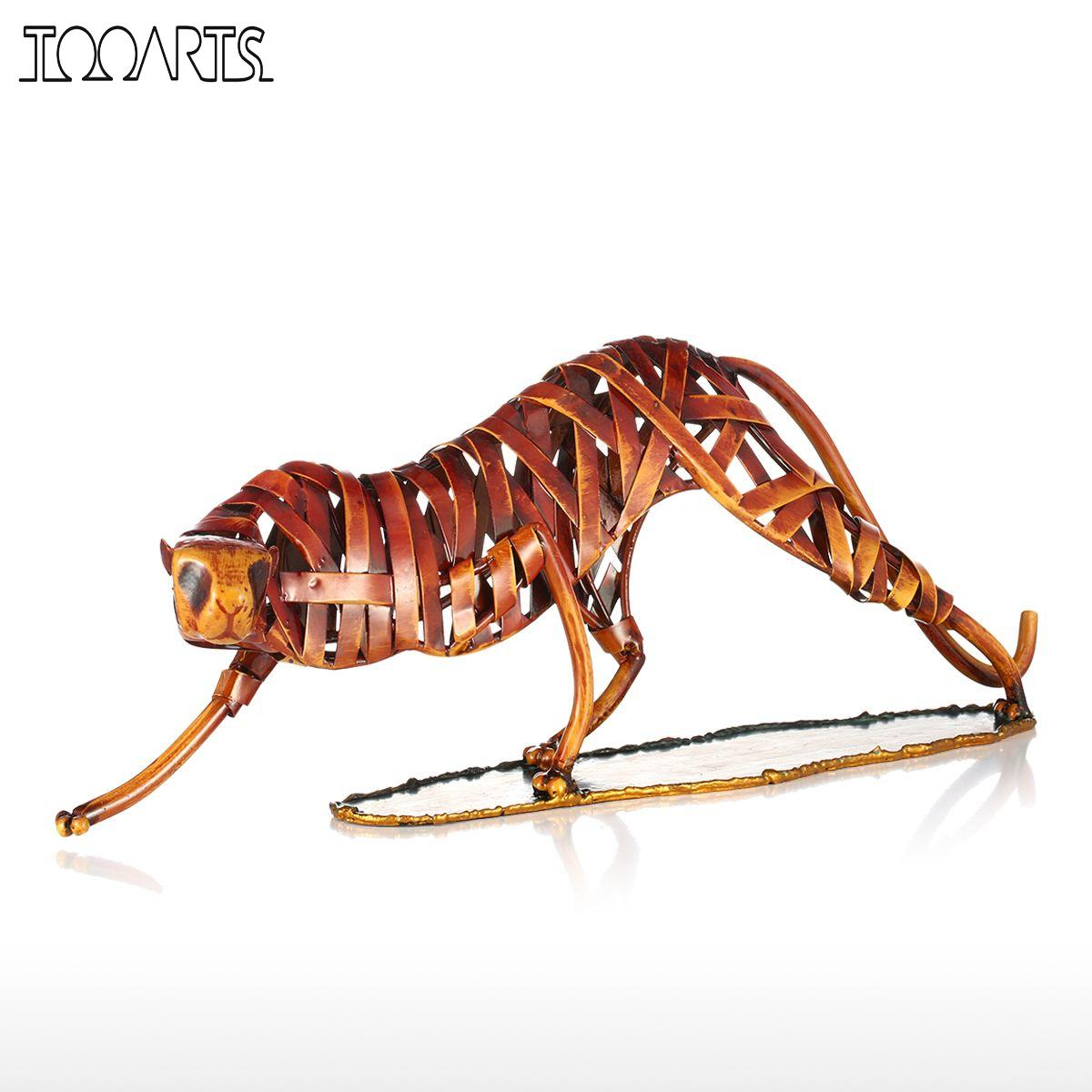 Tooarts Metal Weaving Leopard Figurine Iron Figurine Home Decoration Animal Craft Gift For Home Office