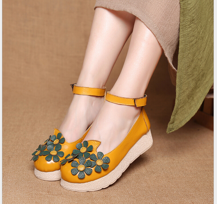 ФОТО New Genuine Leather Shoes Women Platform shoes Fashion Womens Office Ladies Shoes comfortable soft single shoes
