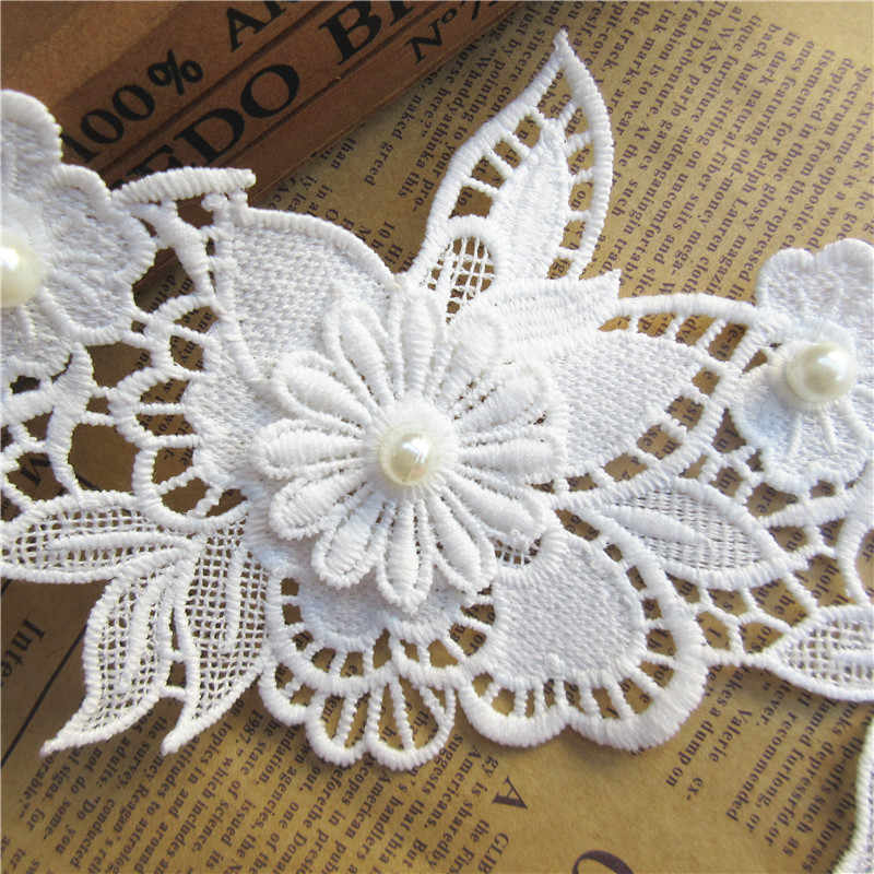 12cmx11cm White Cotton Pearl Flower Embroidered Lace Trim