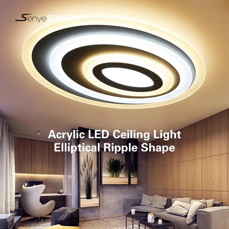 US $150.0 |Moderne Acryl Led deckenleuchte Elliptische Ripple Form Decke  Panel Led Wohnzimmer Schlafzimmer Innen 8 cm Hohe Led Beleuchtung-in ...