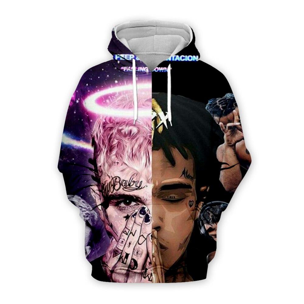 LIL PEEP And XXXTentacion Print 3d Hoodies Sweatshirt Jahseh Dwayne Hip Hop Hot Singer Zipper Hoodie Men/women Casual Pullover