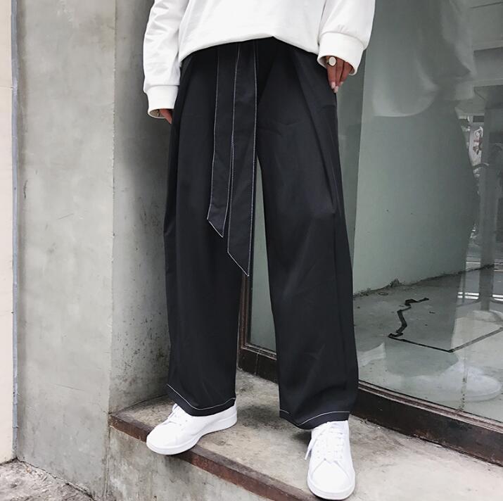 Qualité Coréen 2019 Vêtements Casual Hommes Mode Pantalon Jambe Lâche Haute Noir De Summer New Neuvième Droite Large ZxqrZw8O