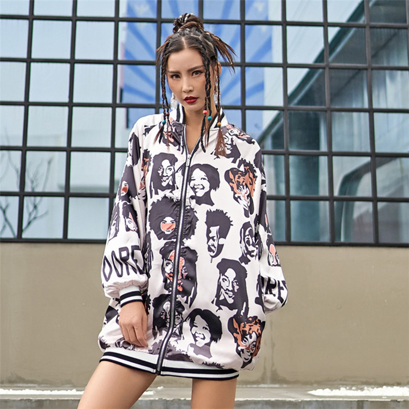 head portrait print thin women coat zipper up long sleeve spring autumn   trench   harajuku hip hop vintage color block street tops
