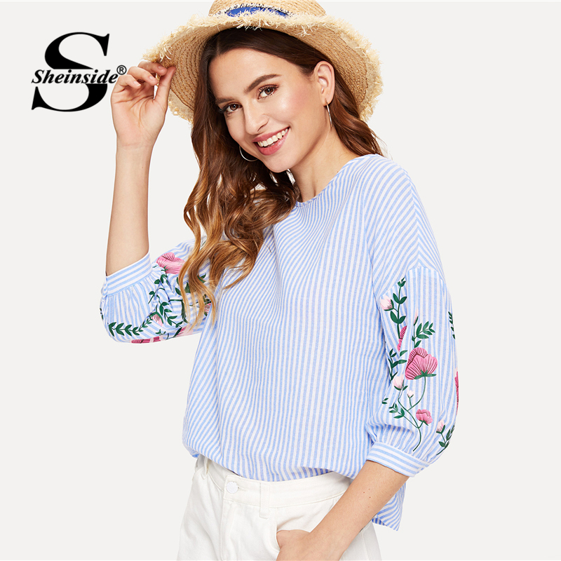 Sheinside Blue Striped Flower Print Elegant Blouse Lantern Half Sleeve Round Neck Blouse Women Summer Weekend Casual Shirt Top
