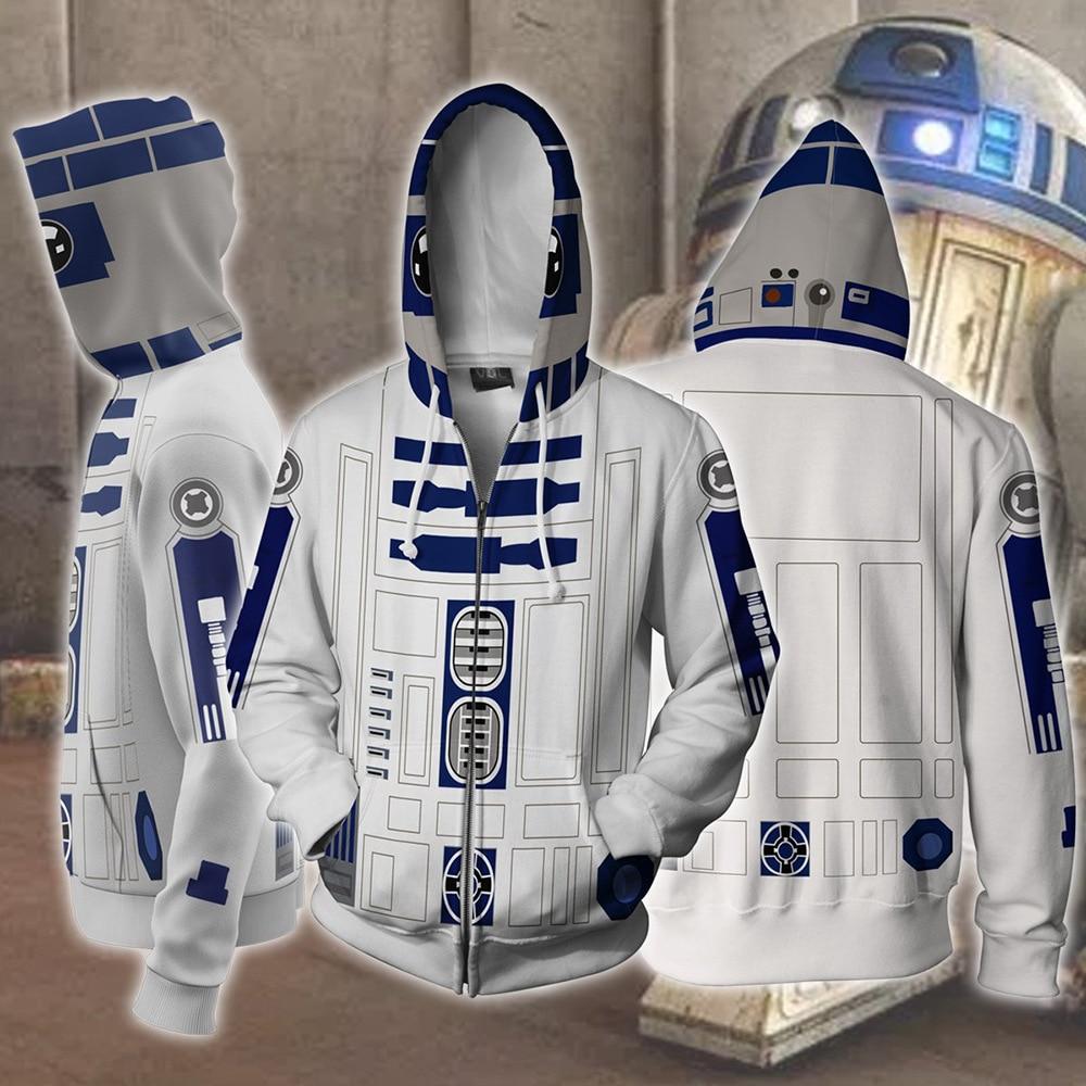 R2-D2 Robot Hoodies Star Wars Robot Sweatshirts R2-D2 Cosplay Costume Zipper Men Women Top