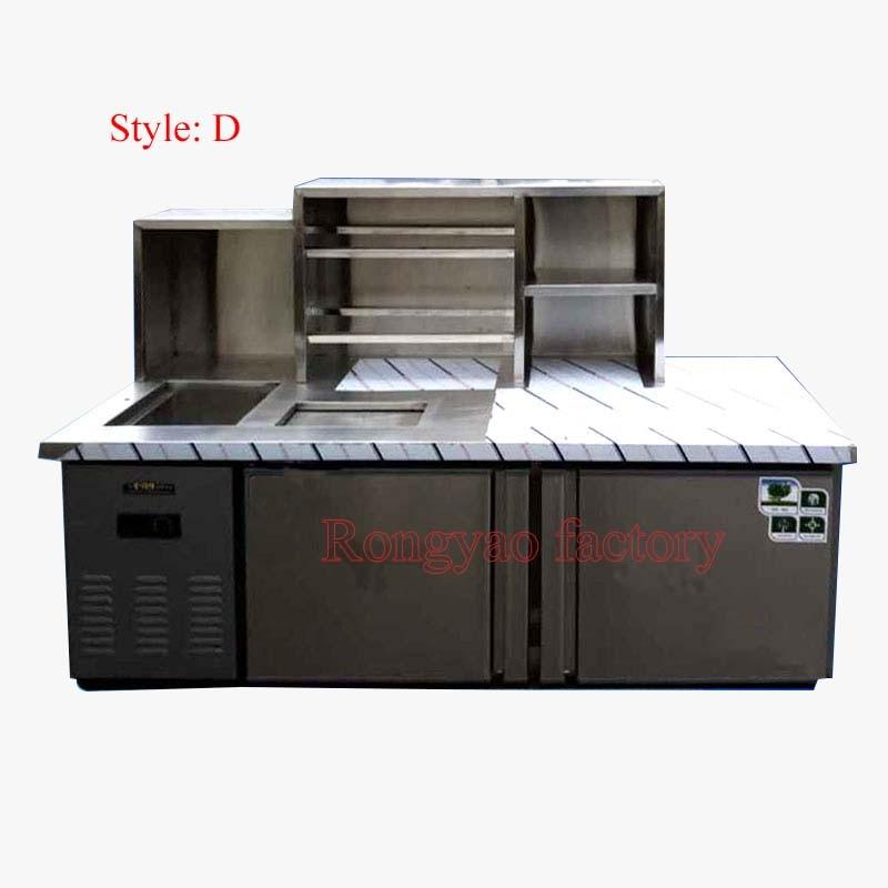 2020 Hot Sale Custom Stainless Steel Refrigerator Freezer Bar Operation Counter Milk Tea Table Custom Various Counter
