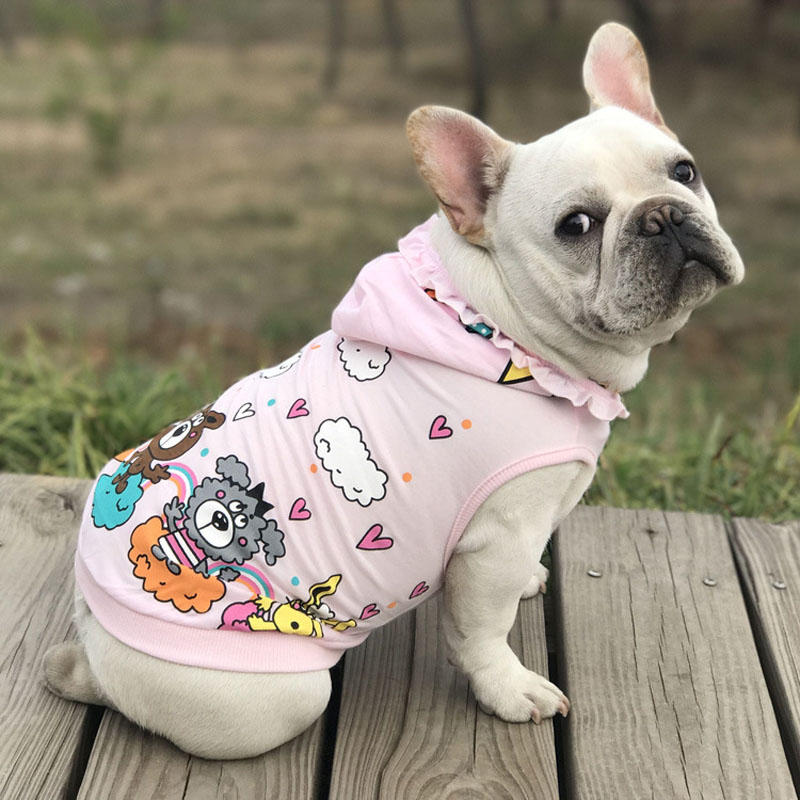 HSWLL Pet Hoodie Summer New Puppy Clothes Fashion Casual Stretch Cotton Pet Clothing Sweater French Bulldog