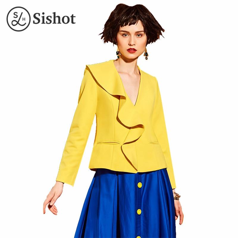 Sishot women jackets 2017 fashion summer yellow solid slim long sleeve hidden button ruffle v neck falbala pocket casual jacket
