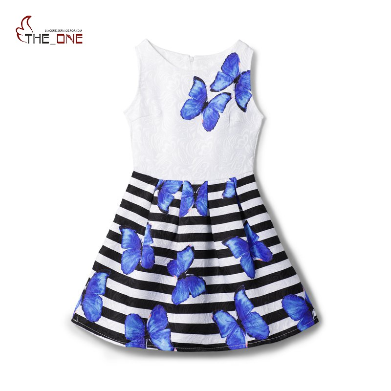 MUABABY 6-12 Years Summer Teen Dress Girls Sleeveless Butterfly Print Princess Casual Dresses Kids Elegant Formal Party Clothing sleeveless summer women dress 2016 elegant casual dresses patchwork 65