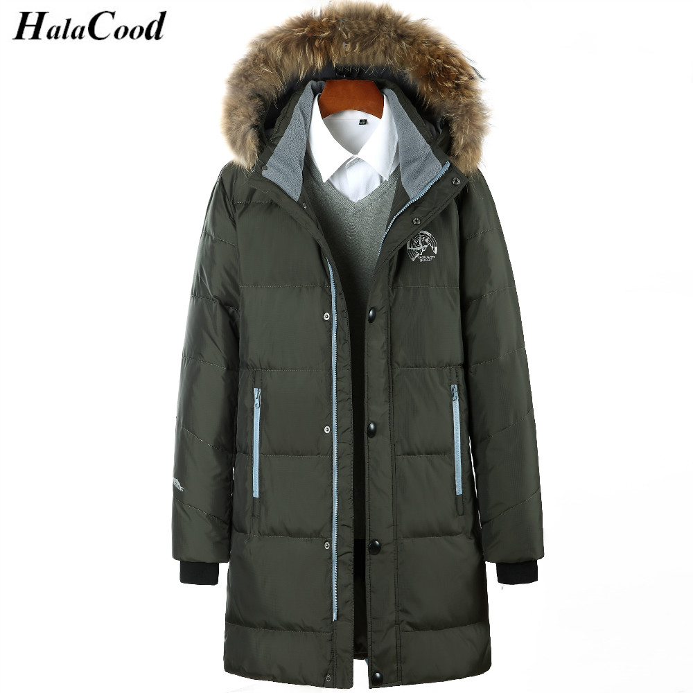 High Quality Winter Warm Hooded Men Down Jackets Casual Long Duck Down Coats Jackets Thicken Outwear Solid Parkas Plus Size 6XL