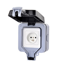 European 2P+E 16A 250V EU outdoor Power Socket Black White France Waterproof French Cable Outlet With Cover