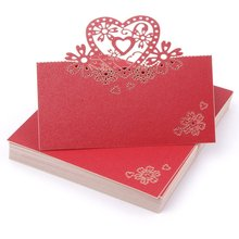 METABLE 50 Pieces Hollow Love Heart Table Mark Place Name Cards for Wedding Party Decoration, RED